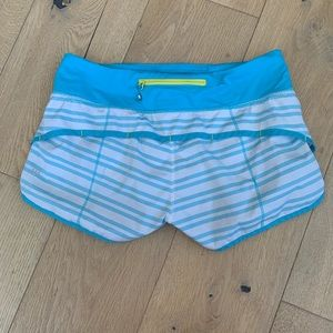 🍋Twin Stripe Spry Blue Speed Shorts